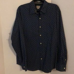 J Crew Woven Button Down Arrow Print Shirt XL